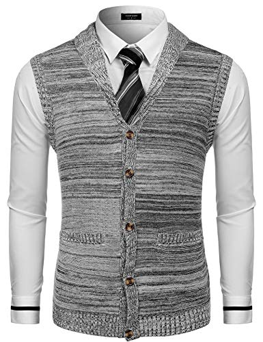 COOFANDY Mens Sweater Vest Slim Fit Shawl Collar Knitted Zip Button Up Cardigan