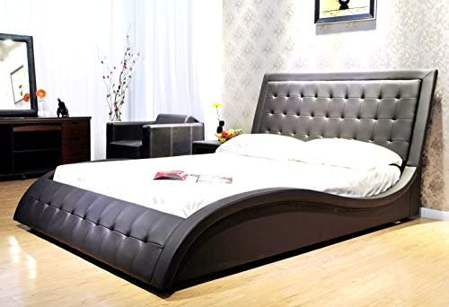 Greatime B1136-2 Queen Size Dark Brown Wave-Like Shape Faux Leather Platform Bed, with Euro Curved Slats