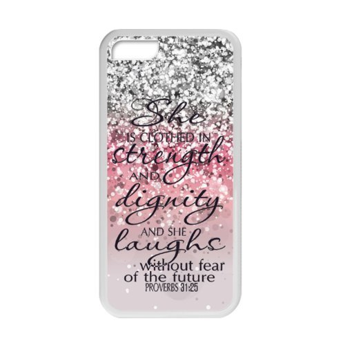 iPhone 5C Protective Case - She is Clothed with Strength & Dignity She Laughs without Fear of the Future Proverbs 31:25 - Bible Verse Pink Sparkles Glitter Pattern iPhone 5C TPU(Laser Technology) Case