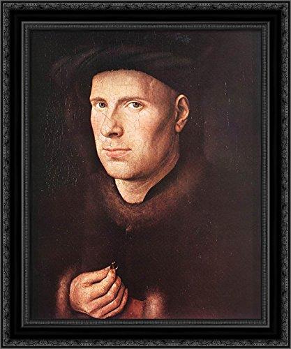 Portrait of Jan de Leeuw 20x24 Black Ornate Wood Framed Canvas Art by Eyck, Jan van