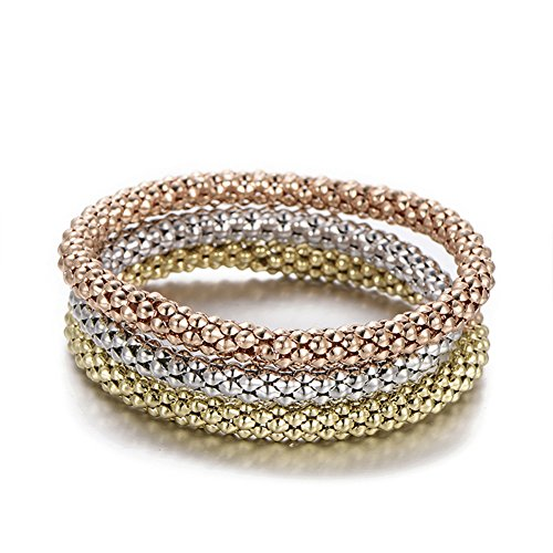 PORPI-JOJO 3PCS Gold/Silver/Rose Gold Tone Corn Chain Stretch Bracelets Anchors Beatles Charms Multilayer Bracelet for Women 3 Style (Simple) ()