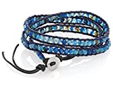 Blue Bead Wrap Bracelet with Black Genuine Leather Cord & Button Clasp, By Regetta Jewelry