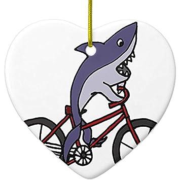 Amazon.com: Cheyan Silly Shark Riding Bicycle Cartoon Metal ...