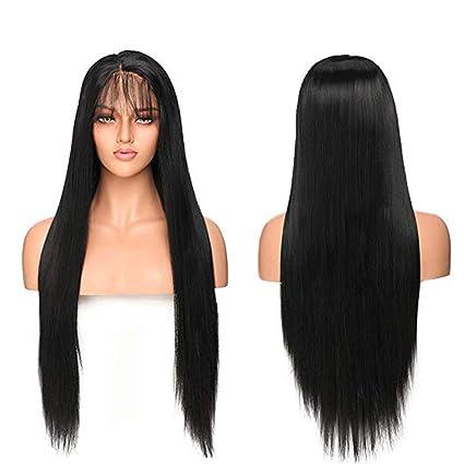 Lace Front Wig Pelucas Negras Lisas Largas Pelo Sintético Peluca de Encaje  Frontal Se Ven Naturales ee3c6726c6e1
