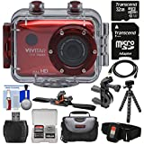 Vivitar DVR786HD 1080p HD Waterproof Action Video Camera Camcorder (Red) with Remote