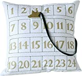 Creative Co-op Fabric Advent Calendar Pillow with Wooden Star