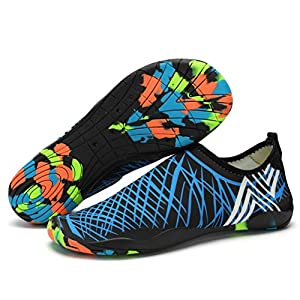 Lxso Men Women Water Shoes Multifunctional Quick-Dry Aqua Shoes Lightweight Swim Shoes With Drainage Hole (13US-women/11US-men=EU/FR 44, Blue)