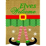 """Lantern Hill Elves Welcome Burlap Garden Flag; Double Sided; 12.5"""" x 18"""" inches; Christmas Elf Legs Winter Holiday Decorative Banner"""