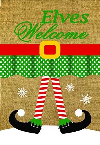(Lantern Hill Elves Welcome Burlap Garden Flag; Double Sided; 12.5