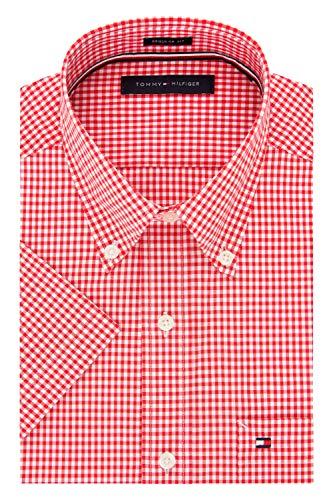 Tommy Hilfiger Men's Short Sleeve Button-Down Shirt, Cardinal, 17.5