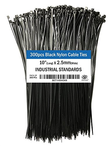 Aroma Trees 10 Inch 300 Pcs Heavy Duty Zip Ties Black Nylon Cable Ties Certified for Office and Home Use for Organizing Cables and Objects, Highly Durable (Aroma Tree)
