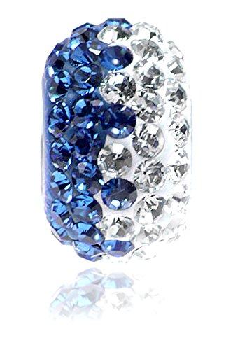 Design Style European - Brilliant Blue and White Wave Design Rhinestone Bead Fits Her European Style Charm Bracelet