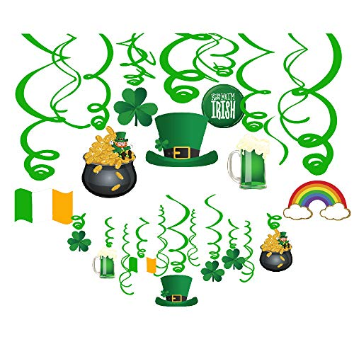 CC HOME St Patricks Day Party Decorations, St Patricks Day Hanging Swirl Decoration, Spring Shamrock Clover / Leprechaun Hanging Decoration, St Patricks Day Shamrock Clover Whirls Ceiling Streamer Decoration for Saint Irish Party,Baby Shower,Birthday Party ,Graduation ,Wedding Decoration 30 Pcs ()