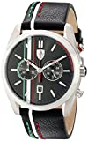 Ferrari Men's 830237 D 50 Stainless Steel Watch with Striped Leather Band
