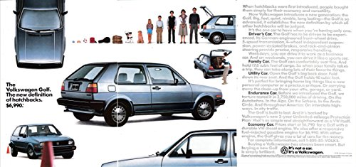 (1985 VW Golf Hatchback-Diesel or Fuel Injected 6790 -Original 3 Page Magazine Ad)