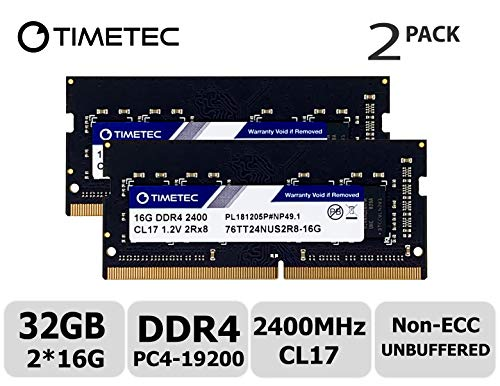 Timetec Hynix IC 32GB Kit (2x16GB) DDR4 2400MHz PC4-19200 Non ECC Unbuffered 1.2V CL17 2Rx8 Dual Rank 260 Pin SODIMM Laptop Notebook Computer Memory Ram Module Upgrade S Series (32GB KIT(2x16GB))