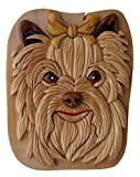 Jelly Roll Box Yorkshire Terrier handmade secret puzzle box crafted from Beachwood red felt lined interior holds jewelry, gift cards, or money