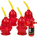Straw Fire Hydrant Cups with Lids