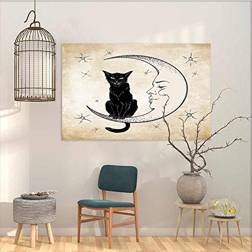 (Oncegod Canvas Prints Wall Decor Art Sticker Moon Black Cat Sitting on White Crescent Moon Contrasting Facial Expressions Feline A for Your Relatives and Friends Sand Brown Black W23)