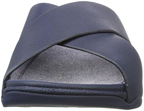 Fitflop Surfer Leather Slide, Sandalias de Punta Descubierta Para Hombre Azul (Midnight Navy)