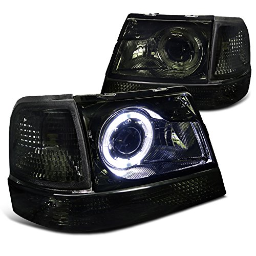 Smoke Lens Chrome Bezel Halo Projector Headlights Made For 98-01 1998 1999 2000 2001 Ford ()