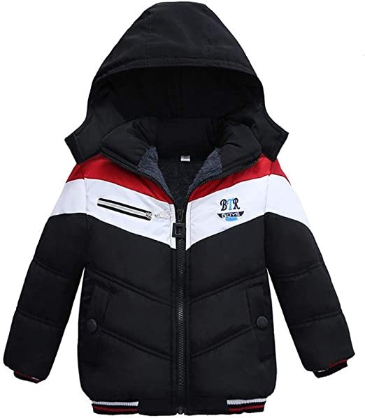 AMIYAN Toddler Boys Down Jacket Winter Jacket Hooded Thickened Warm Snowsuit Coat Parka Outerwear