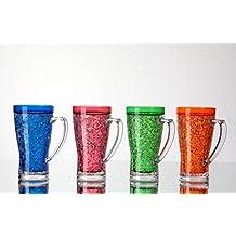 JF Double Wall Gel Frosty Freezer Beer Mug Set 15 Oz (Red, Blue, Orange, Green)