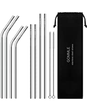 """Stainless Steel Straws, Reusable Metal Drinking Straws, 10.5"""" Length 0.24"""" Diameter, Suit for Smoothie, Milkshake, Cocktail and Hot Drinks with 2 Cleaning Brushes and Carry Pouch (Silver Pack of 8)"""