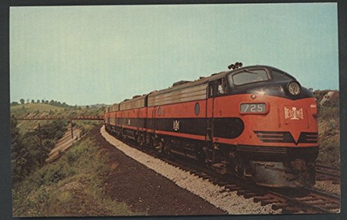 Bessemer Lake Erie EMD F7 Diesel Engine Locomotive Railroad Postcard Ore Cars