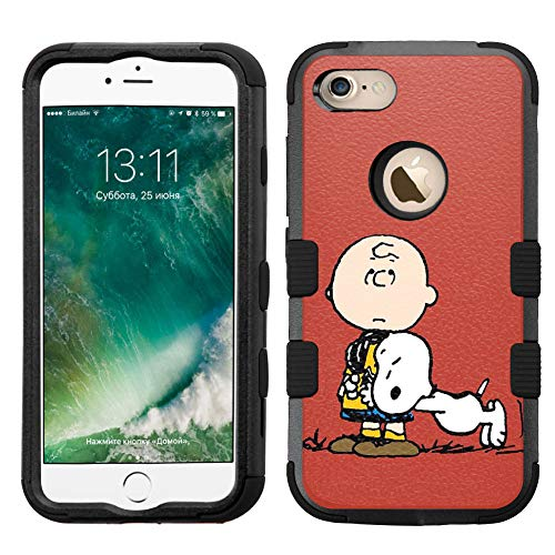 for iPhone 8 Case, iPhone 7 Case, Hard+Rubber Dual Layer Hybrid Heavy-Duty Rugged Impact Cover Case - Snoopy #LN