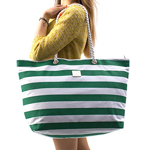 Large Canvas Beach Bag - Perfect Tote Bag For Holidays (Green) by Bag&Carry