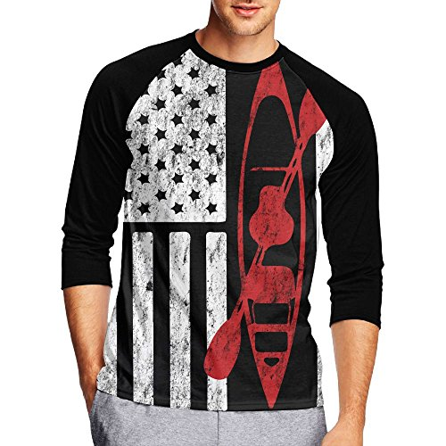 American Flag Raglan 3/4 Sleeve Tops Sweatshirt T-Shirt XL ()