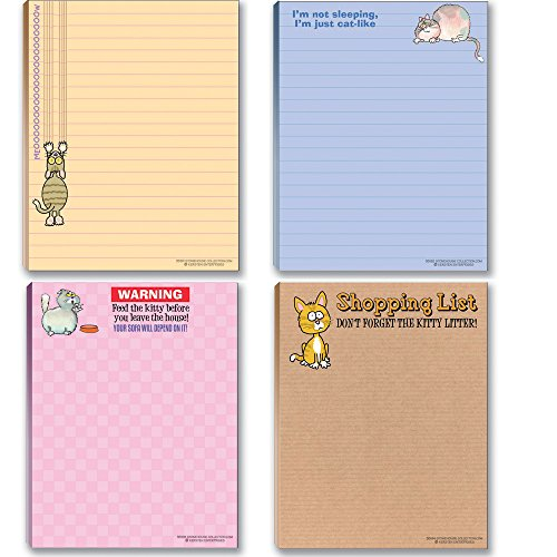 Funny Cat Theme Pads - Assortment #2-4 Assorted Kitty Note Pads