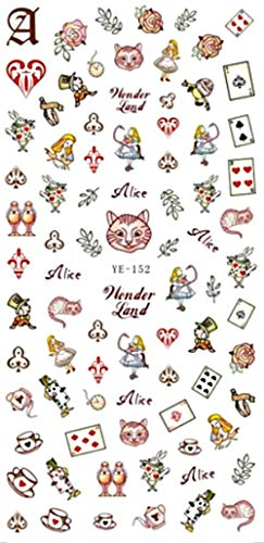 1 Sheet Alice Wonder Land 3D Nail Art Self Adhesive Decals Stickers Applique Set DIY Resin, Scrapbooking, -