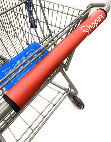 Shopping Cart Handle Cover by Shopex Cover for Grocery Cart Buggy and Trolley Handles | Safe for Adults Babies and The Environment | Eco-Friendly and Reusable | 16 Inches Long | Red / Shopping Cart Handle Cover by Shopex Cover for ...