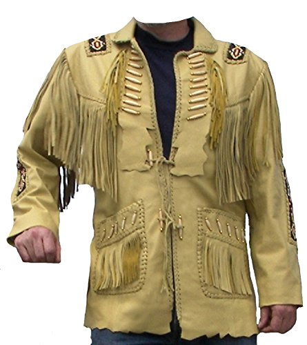 Classyak Western Style Leather Jacket Cream'ish, Quality Cow Leather, Xs-5xl (3X-Large For Chest 48