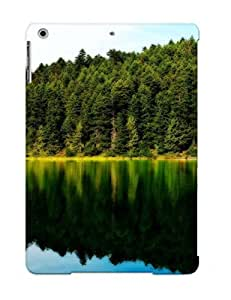 Improviselike Premium Protective Hard Case For Ipad Air- Nice Design - Forest Reflecting In The Lake