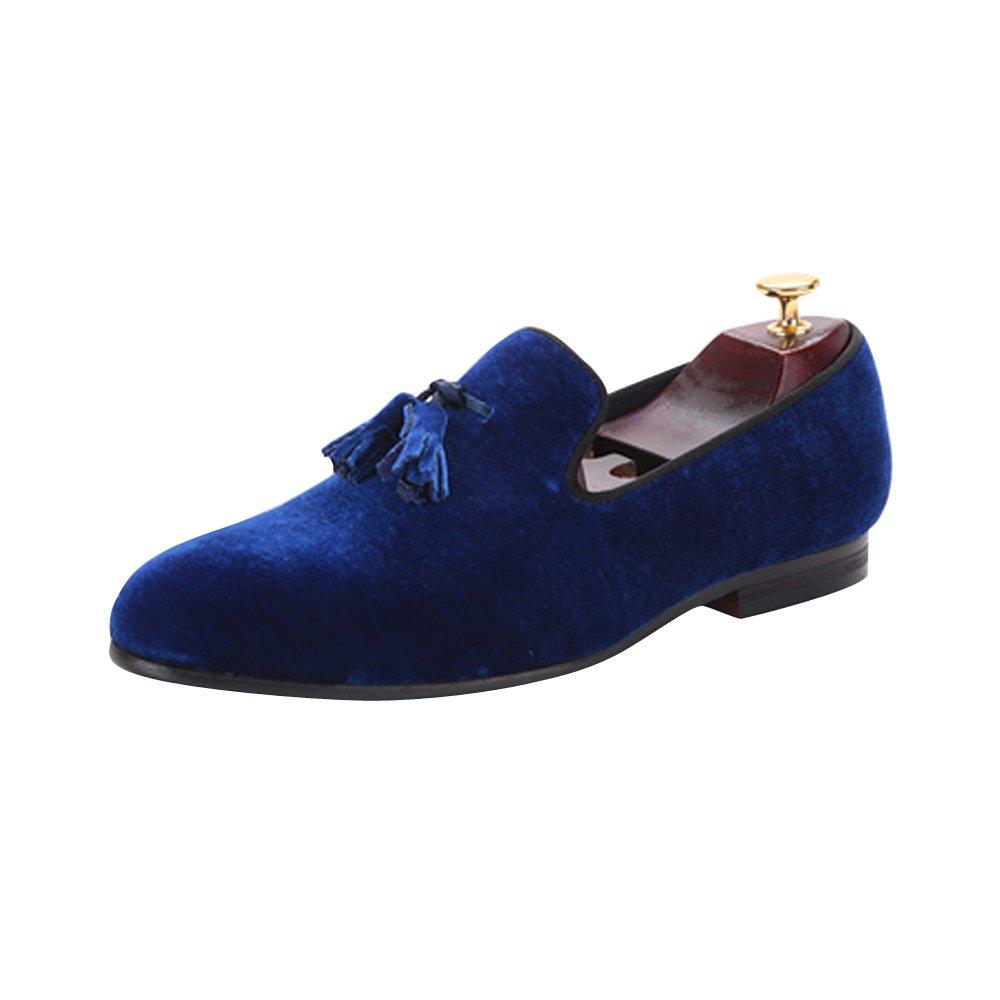 Men's Velvet Shoes British Style Loafers Slip on Flats with Tassel Royal Blue US size 13