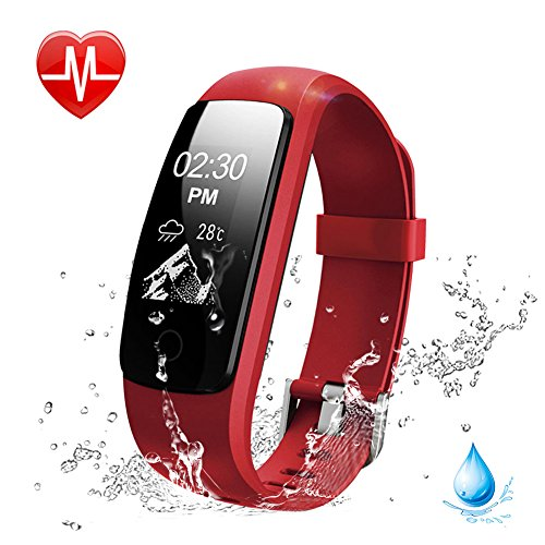 Heart Rate Fitness Tracker Watch, Lintelek Updated Activity Tracker with Multiple Sports Modes, IP67 Waterproof Touch Screen Smart Pedometer for Android and IOS Smart Phones (Walk Clock Alarm)