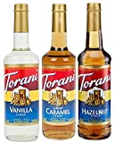 Torani Syrup Coffee Variety Pack - Vanilla, Caramel Classic, Hazelnut Classic, 3-count, 25.4-ounce Bottles