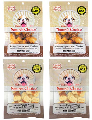 (Nature's Choice Chicken Wrapped Sweet Potato Biscuits & Apple Wrapped with Chicken Dog Treats, 4-pk Bundle)