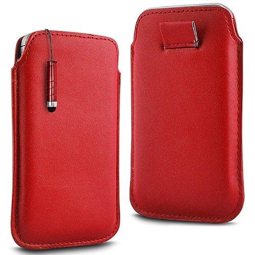 N4U Online - Apple iPhone 3G haut de gamme PU souple Pull en cuir flip Tab Housse Etui & Mini Stylet - Rouge