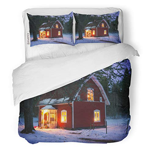 Semtomn Decor Duvet Cover Set Full/Queen Size Blue Festive Lighted House in Sweden at Christmas Time 3 Piece Brushed Microfiber Fabric Print Bedding Set Cover]()
