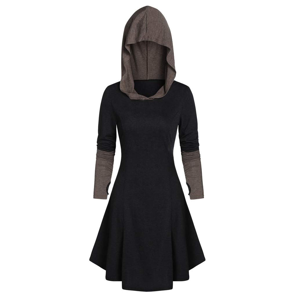 Womens Long Sleeve Blouse Tops Fashion Hooded Pullover Lace Up Vintage Gothic Punk Robe High Low Hoodies Cloak