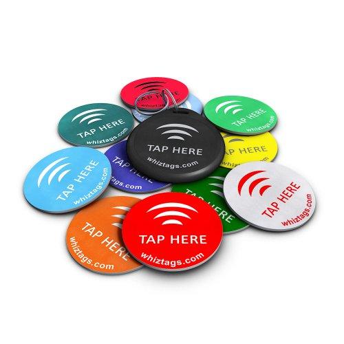 NFC Tags - NTAG 213 Chip - 10er Pack + Schlüsselanhänger + 1 Bonus Tag Gratis - mit Android Beschreib-...