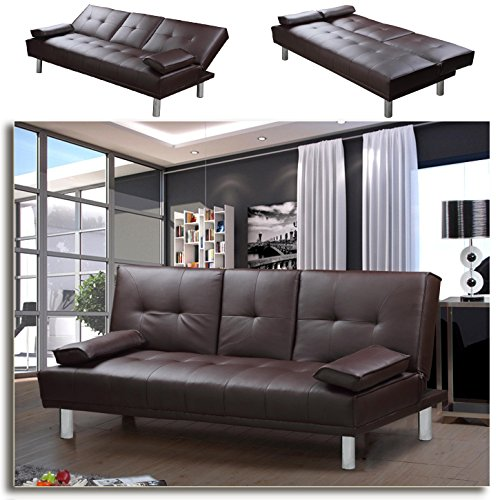 MANHATTAN-Funktionssofa-Braun-Schlafsofa-Sofa-Kunstleder-Bettsofa-Lounge-Couch
