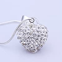 Luxury Fashion Crystal Heart 925 Sterling Silver Pendant Necklace, White