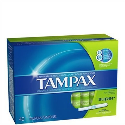 Tampax Cardboard Applicator Tampons - Super Absorbency, 40 Count
