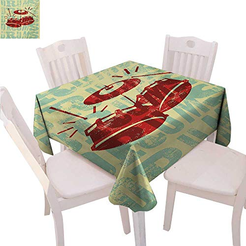 BlountDecor Vintage Customized Tablecloth Groovy Retro Drumming Poster Design Percussion Rock Music Instrument Play Vibe Hit Tablecloth That can be Used as a Tapestry 54