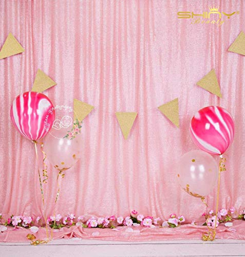 ShiDianYi Sequin Backdrop-Pink-4FTX7FT Shimmer Sequin Fabric Curtain Wedding Props for Photo -